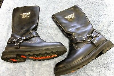 Men's HARLEY-DAVIDSON® STRATUS 95143 Black Motorcycle Riding Boots Size 10