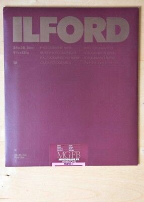 Ilford photographic darkroom paper Glossy Warm Tone 9.5x12 inches, 10 sheets