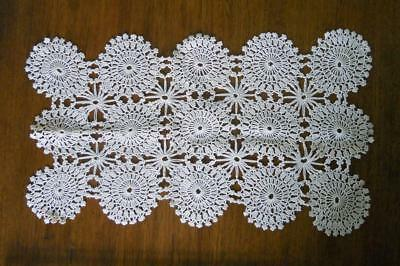 """Vintage Lovely Hand Crocheted Rectangle Doily Centerpiece 13"""" EXC!"""