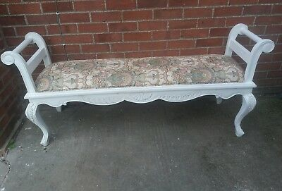Large Carved Scrolled Double Ended Upholstered Chaise Longue / Seat / Bench
