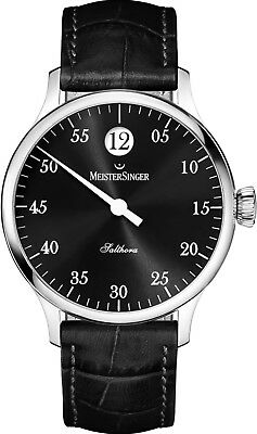 MeisterSinger Men's Salthora Leather Strap Jumping Hour Automatic Watch SH907