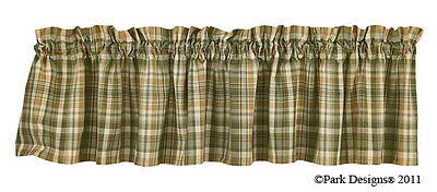 Window Curtain Valance - Rosemary by Park Designs - Green Gold Ivory Plaid