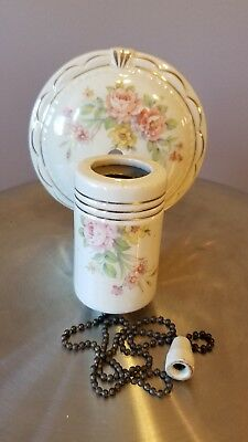Antique Porcelain Rose Light Fixture Shabby Floral Old Vtg Sconce