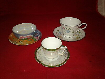 Vintage Lot Of 3 Sets Of Tea/coffee Cups And Matching Saucers