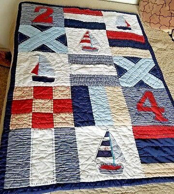 Blue Pottery barn sailboat crib quilt comforter boys