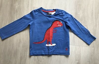 Joules Baby Boy Long Sleeved Top 18-24 Months Blue With Red Dinosaur