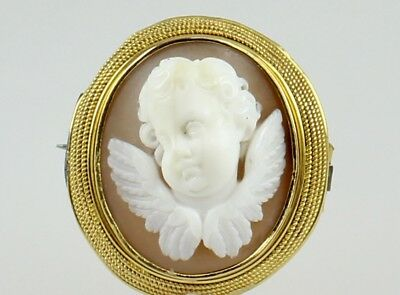 Antique Victorian Gold Shell Eros Cupid Cameo Brooch Pin