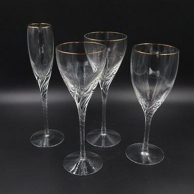Lenox Encore Crystal White Wine Glasses & Champagne Flute Lot of 4 Pieces