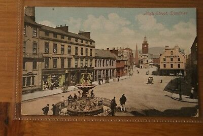 c1910 High Street and Fountain Dumfries Postcard