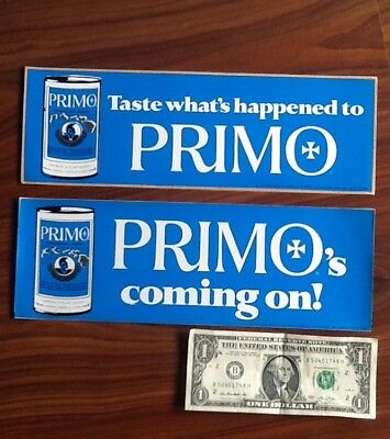 Primo Beer Hawaii Bumper Stickers (2)1974 NOS! Only Ones I Have To Offer!