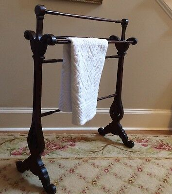 Victorian Blanket Stand / Rack-  Carved Wood - Quilt Storage BEAUTIFUL!
