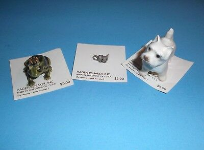 Hagen Renaker*lot*highland Terrier*frog*baby Mouse*on Cards*diorama*free Ship*