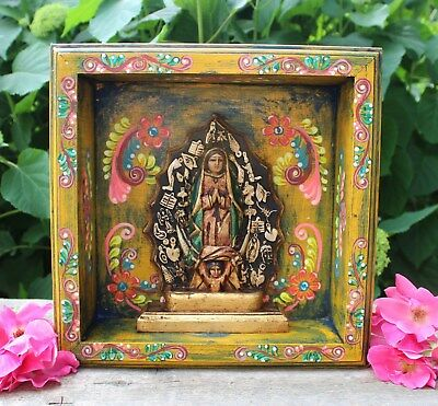 Wood Niche Virgin of Guadalupe Hand Painted & Carved Michoacán Mexican Folk Art
