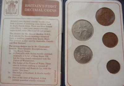 Gt Britain 5 First Decimal Coins 1971 1/2 p to 10p Mint Presentation Pack Uncirc