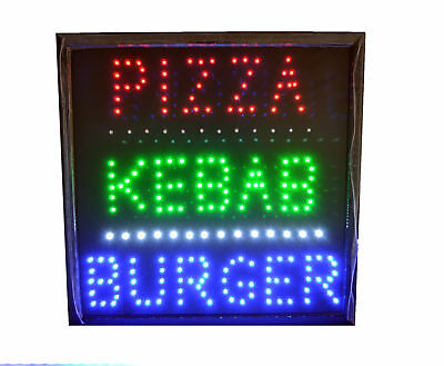 Open Led Pizza Kebab Burger Takeaway Cafe Fast Food Window Shop Sign Bright UK