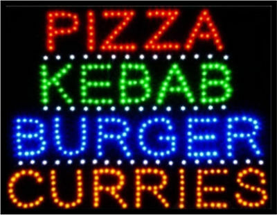 Open Led Pizza Kebab Burger Curries Takeaway Cafe Fast Food Window Shop Sign UK