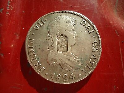 Portugal - 1834 Crowned Arms Countermark on 1824 Bolivia 8 Reales -RARE!