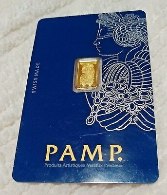 Gold 1 gram Pamp Suisse Fortuna Gold 999.9 Gold Bar Sealed Certified#c064652