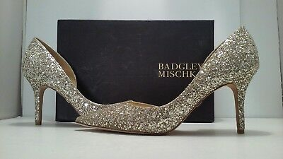 Badgley Mischka Daisy Women's Platino Chunky Glitter Fabric High Heel Pump 9.5 M