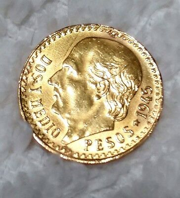 Mexico 2 Pesos, 1945 Gold Coin , World Mexican Gold, Lustrous Nice! #71818-2