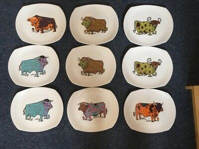 9 Vintage Beefeater Plates With 60's Designs.English Ironstone Pottery