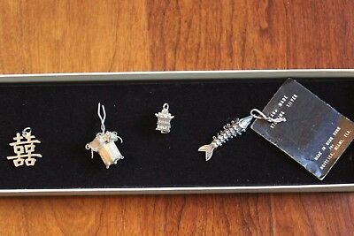 Vintage Sterling Silver Asian Charms including jointed carp/koi and pagoda