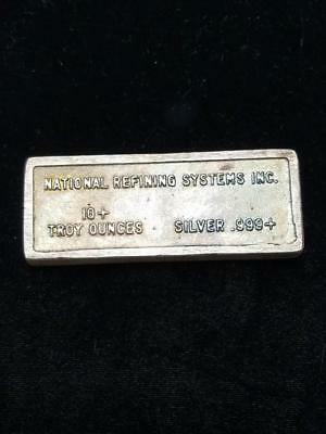 Poured Bar National Refining Systems, Inc 10 oz 999 Silver Bar