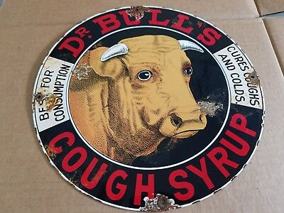 Dr Bulls Cough Syrup Porcelain Sign Drugs Pharmacy Farm Cow Steer General Store