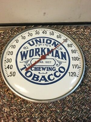 """Rare Union Workman Tobacco Advertiaing Thermometer Sign 12"""" Glass"""
