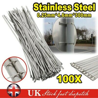 100XQuality Stainless Steel Cable Ties Marine Grade Metal Zip Tie Wraps Exhaust