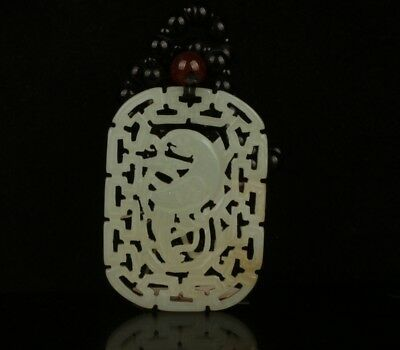 Chinese Exquisite Hand carved bird Carving Hetian jade Pendant