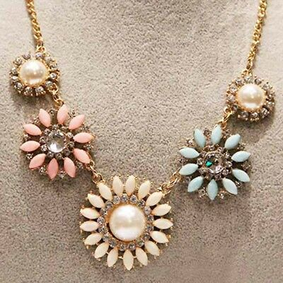 1 pc Women's Fashion Pearl Flower Sweater Chain Long Pendant Necklace Jewelry