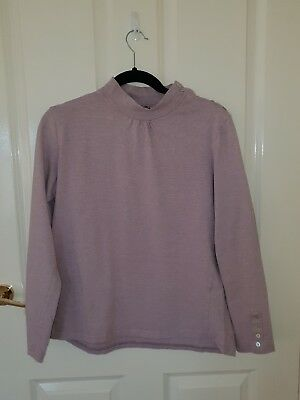 Ladies size 14 Neat Long Sleeve Mulberry Cotton Top by Duchamp