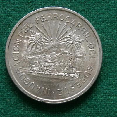 1950 Mexican Silver Coin Southern Railroad Scarce Au
