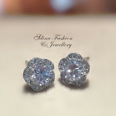 18K White Gold GF Made With Swarovski Element 10mm Shiny Flowers Stud Earrings