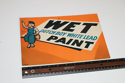 Wet Paint Sign Dutch Boy White Lead 1943 Paper Cardboard Sign WARTIME WWII