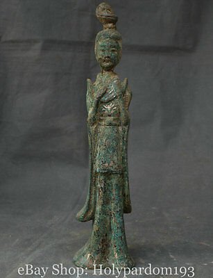 """18"""" Old China Bronze Silver Dynasty Palace Beauty Belle instrument Statue"""