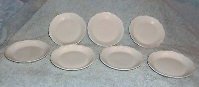 7  - Vintage White embossed Butter Pat Plates