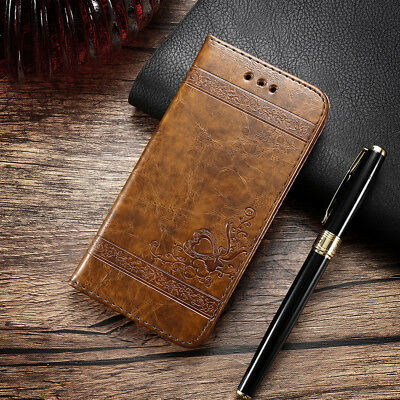 Luxury Leather Wallet Magnetic Flip Card Holder Cover Case For iPhone/Samsung