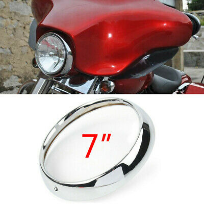 7 inch Chrome Headlight Headlamp Trim Ring Cover For Harley Touring Road King SU