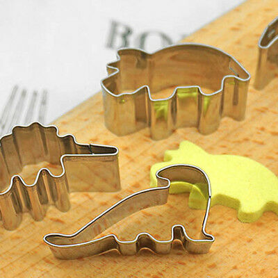 6pcs Dinosaur Stainless Steel Cookie Cutters Biscuit Press Kitchen Baking Tools
