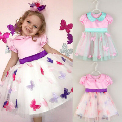 UK Kids Baby Girls Lace Party Prom Bridesmaid Party Pageant Dresses Sundress