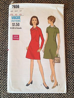 1960's Vogue Sewing Pattern 7656 Misses Collared Shift A line Dress Size 18 1/2