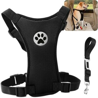 Air Mesh Puppy Pet Dog Car Harness Seat Belt Clip Lead Safety for Travel Dogs UK