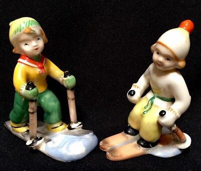 VINTAGE Pair Skiers CROSS-COUNTRY and DOWNHILL Porcelain FIGURINES Skiing Japan