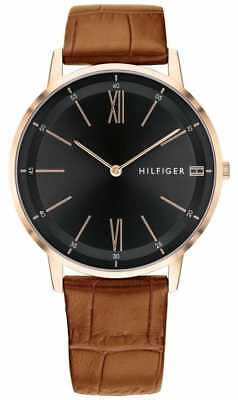 ... Tommy Hilfiger Mens Cooper Brown Leather Black Dial 1791516 Watch