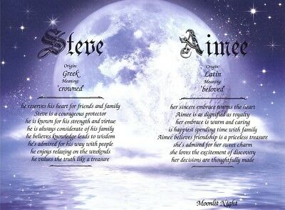 """""""Moonlit Night"""" Personalized Two Name Meaning Birthday Print Gift"""