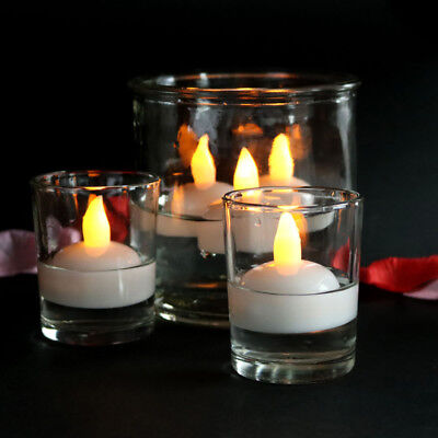 2 Pcs Floating Wedding Party LED Electronic Candle for Festival with Battery
