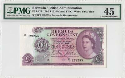 1964 British Colony Bermuda 10 Pounds Qeii **x-Rare** (( Pmg 45 ))