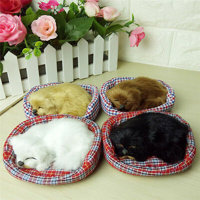 Lovely Simulation Sounding Sleeping Dog Plush Toy with Nest Birthday Xmas Gift